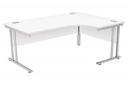 Fraction 2 Right Hand Core Workstation - White with Silver Frame