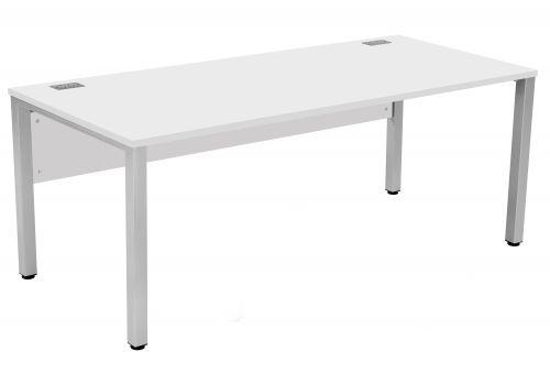 Fraction 3 Rectangular Workstation - White with Silver Frame