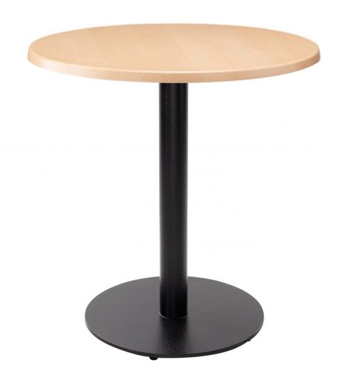 Forza Round Dining Table - Beech with Black Column