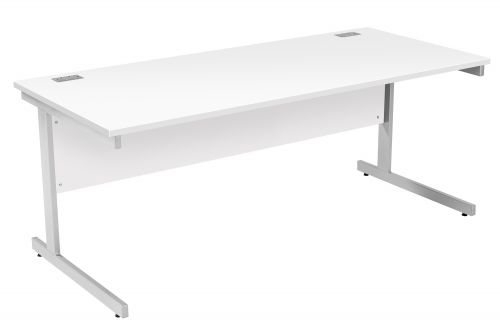 Fraction Plus Rectangular Workstation - White with Silver Frame