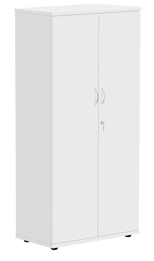 Fraction Plus Double Door Cupboard inc. 3 Shelves - White