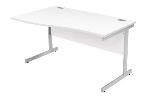 Fraction Plus Left Hand Wave Workstation - White with Silver Frame