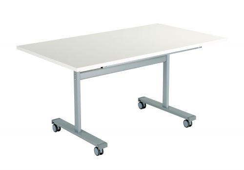 Gyrate Rectangular Flip Top Meeting Table - White