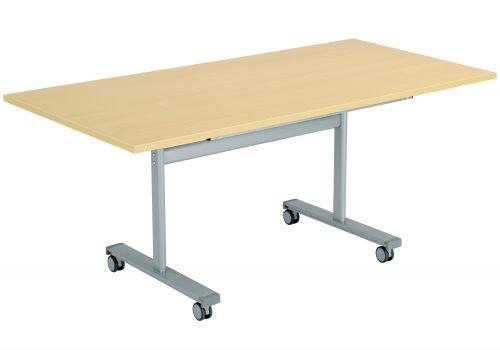 Gyrate Rectangular Flip Top Meeting Table - Nova Oak