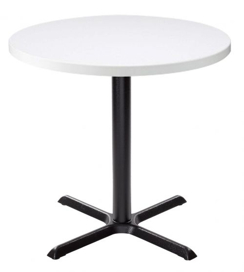Orlando Round Dining Table - White with Black Column