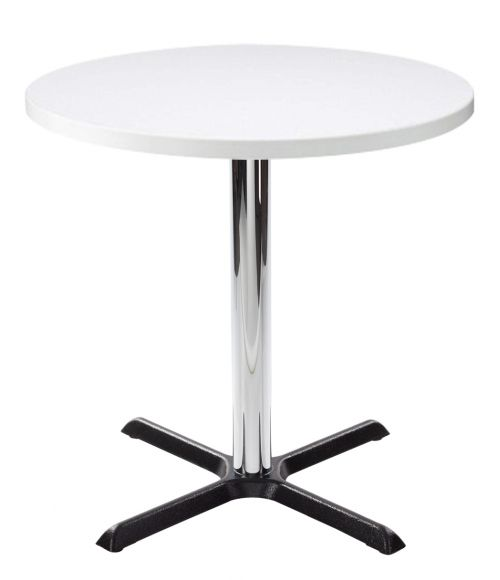 Orlando Round Dining Table - White with Chrome Column