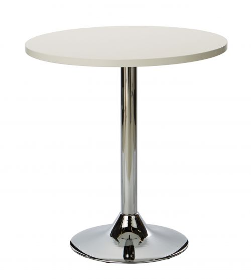 Ramiro Round Dining Table - White with Chrome Column