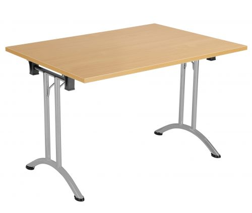 Union Rectangular Folding Meeting Table - Beech with Silver Frame