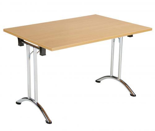 Union Rectangular Folding Meeting Table - Beech with Chrome Frame