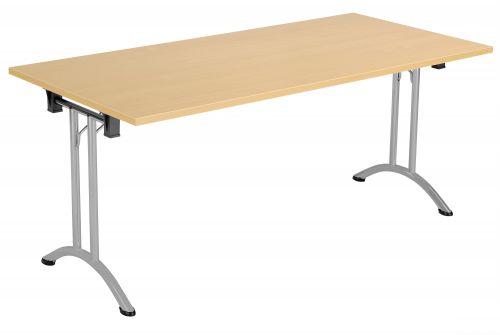 Union Rectangular Folding Meeting Table - Nova Oak with Silver Frame