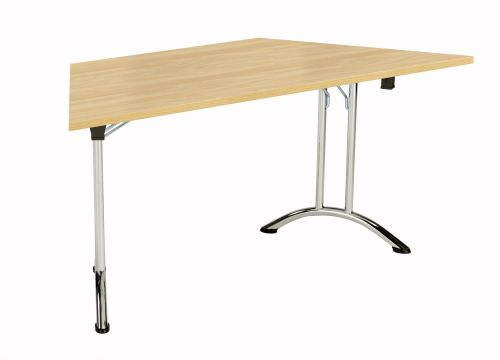 Union Trapezoidal Folding Meeting Table - Nova Oak with Chrome Frame