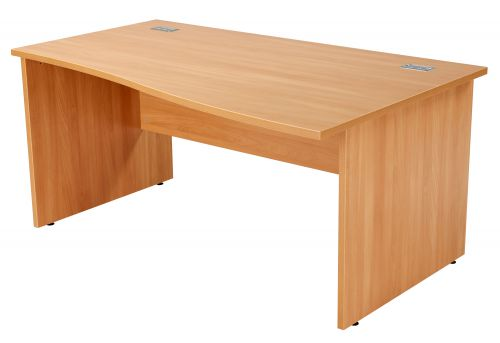 Workmode Right Hand Wave Workstation with Panel Ends - Beech